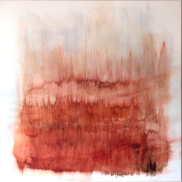 FIRE MEETS AIR, Study of Clouds 2017, Pigments, sands, coffe, mixed media on canvas, cm 110 x 110, 2017, Private Collection, Wien