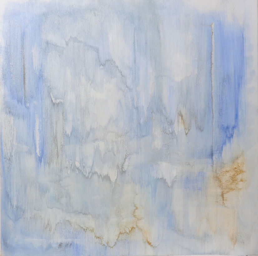 SKY IS CRYING BLUE , Study of Clouds 2017, Pigments, gold and sands, mixed media on canvas, cm 107 x 107, 2017, Private Collection, Stuttgart